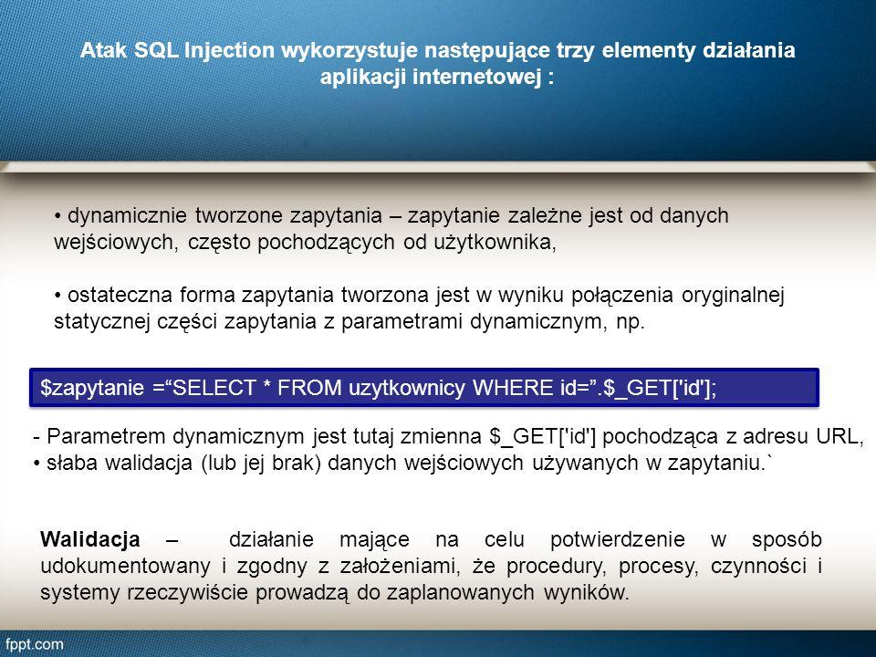 Atak SQL Injection wykorzystuje następujące trzy elementy działania aplikacji internetowej :