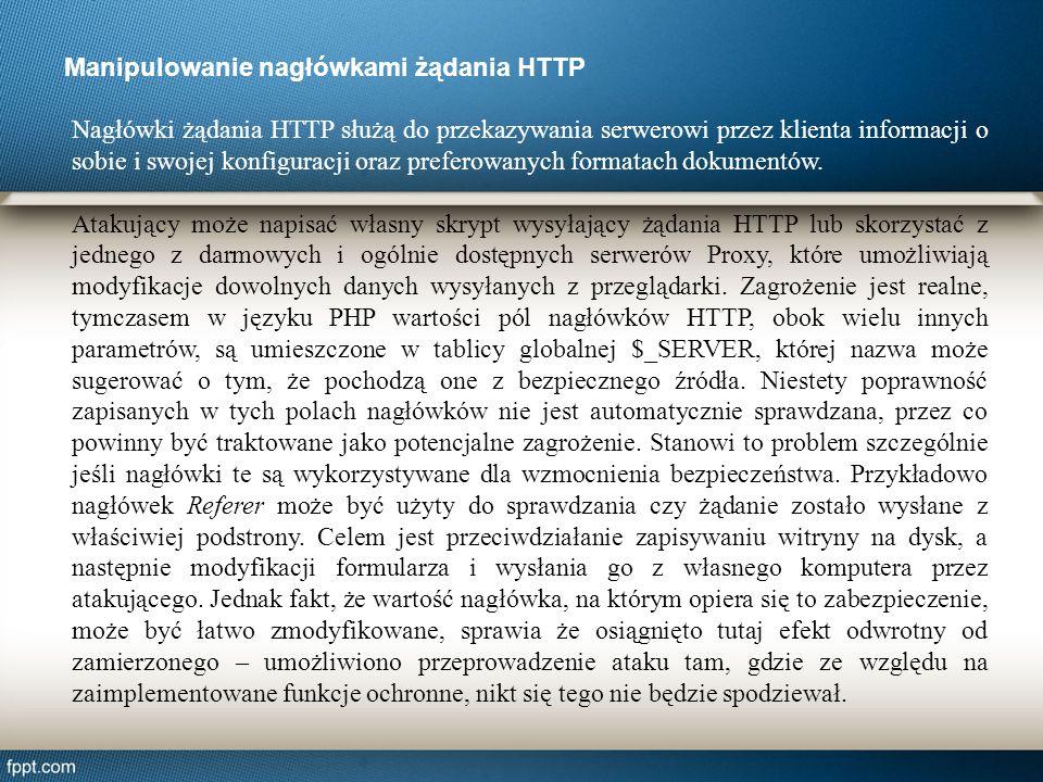 Manipulowanie nagłówkami żądania HTTP