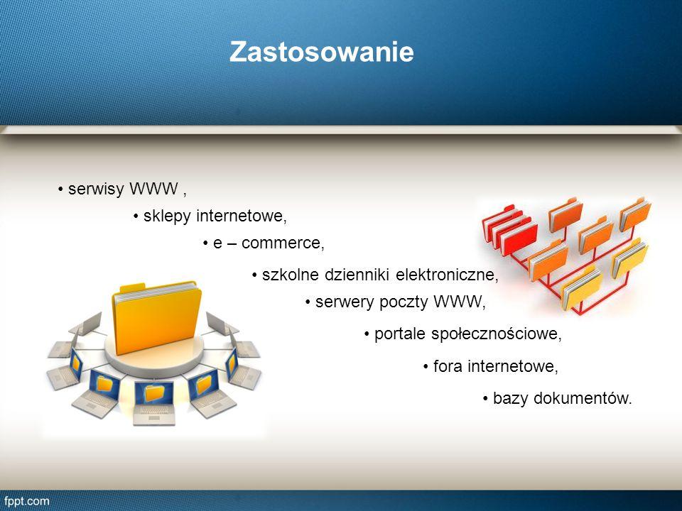 Zastosowanie serwisy WWW , sklepy internetowe, e – commerce,
