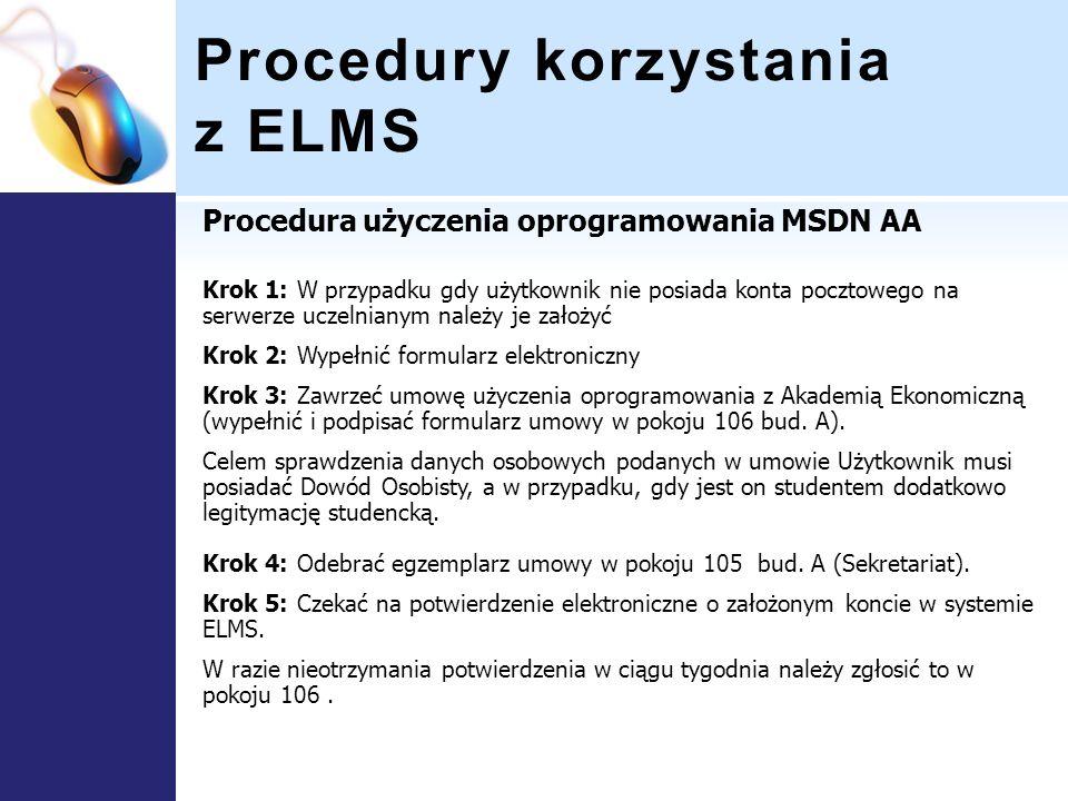 Procedury korzystania z ELMS