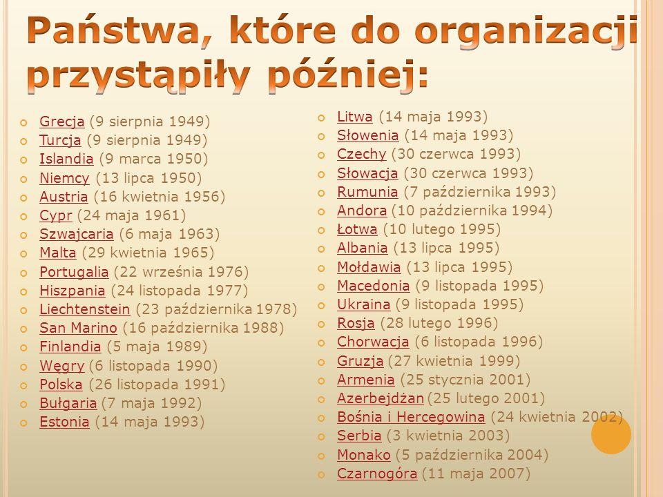 Państwa, które do organizacji przystąpiły później: