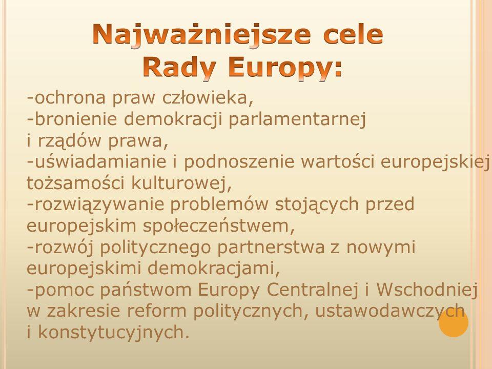 Najważniejsze cele Rady Europy: