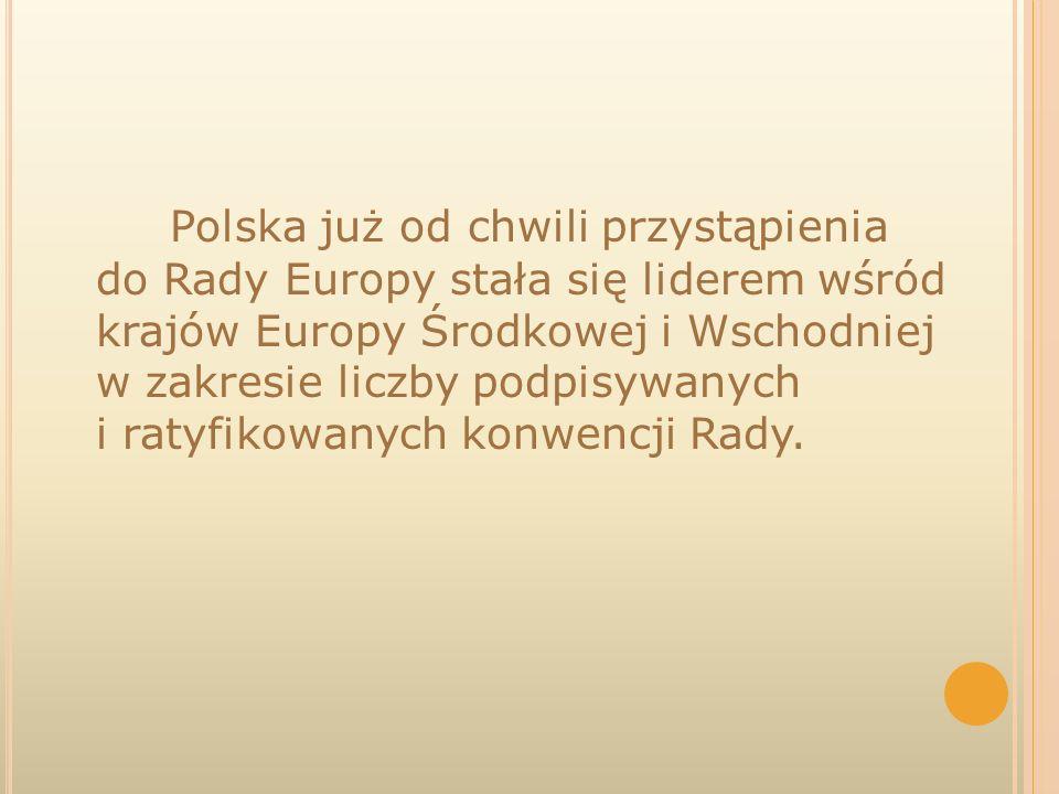 Polska już od chwili przystąpienia do Rady Europy stała się liderem wśród krajów Europy Środkowej i Wschodniej w zakresie liczby podpisywanych i ratyfikowanych konwencji Rady.