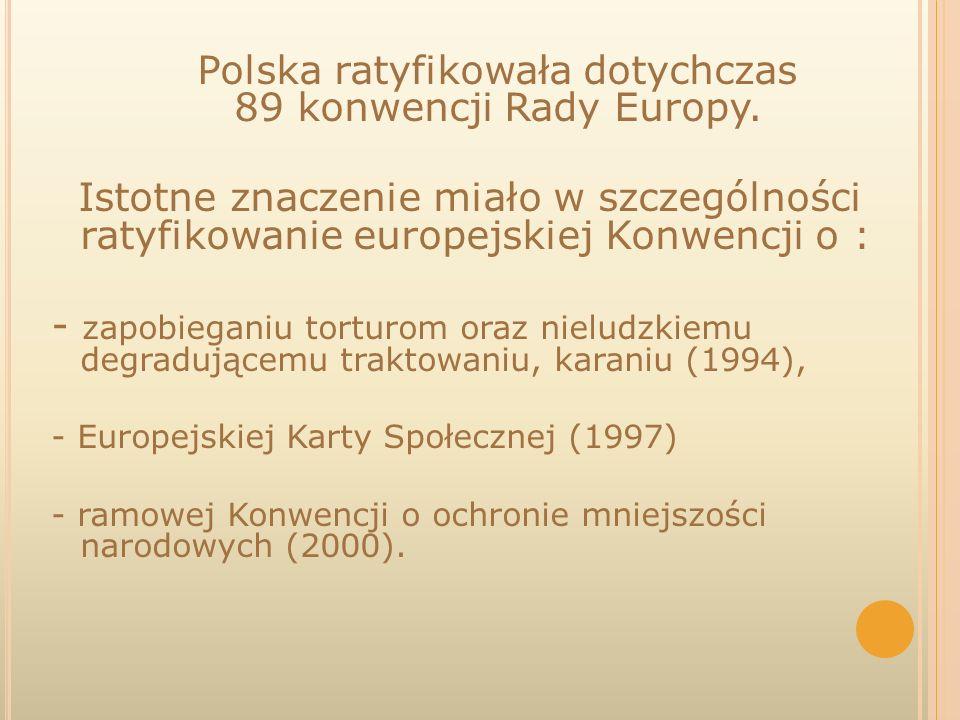 Polska ratyfikowała dotychczas 89 konwencji Rady Europy.