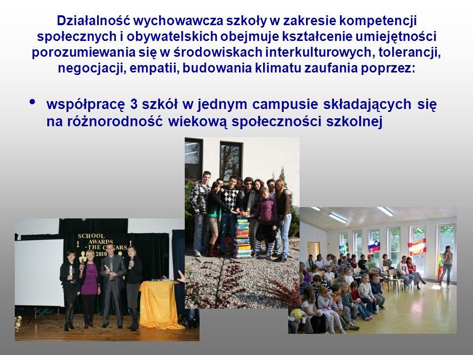 Działalność wychowawcza szkoły w zakresie kompetencji społecznych i obywatelskich obejmuje kształcenie umiejętności porozumiewania się w środowiskach interkulturowych, tolerancji, negocjacji, empatii, budowania klimatu zaufania poprzez: