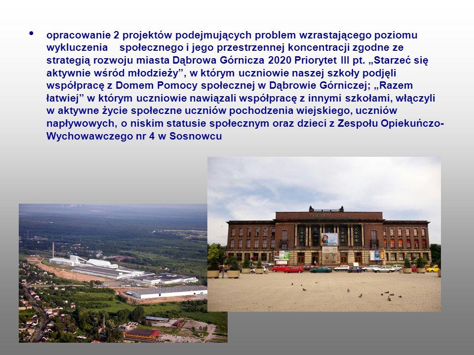 opracowanie 2 projektów podejmujących problem wzrastającego poziomu wykluczenia społecznego i jego przestrzennej koncentracji zgodne ze strategią rozwoju miasta Dąbrowa Górnicza 2020 Priorytet III pt.