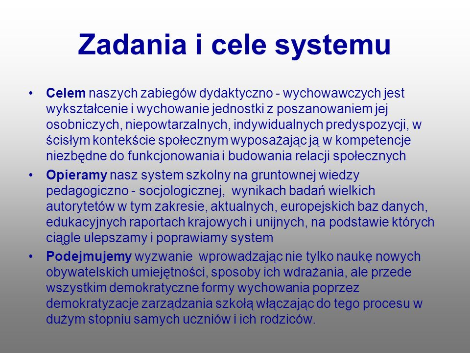 Zadania i cele systemu