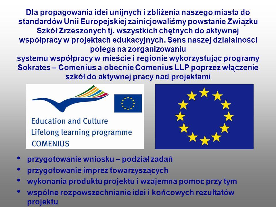 Dla propagowania idei unijnych i zbliżenia naszego miasta do standardów Unii Europejskiej zainicjowaliśmy powstanie Związku Szkół Zrzeszonych tj. wszystkich chętnych do aktywnej współpracy w projektach edukacyjnych. Sens naszej działalności polega na zorganizowaniu systemu współpracy w mieście i regionie wykorzystując programy Sokrates – Comenius a obecnie Comenius LLP poprzez włączenie szkół do aktywnej pracy nad projektami