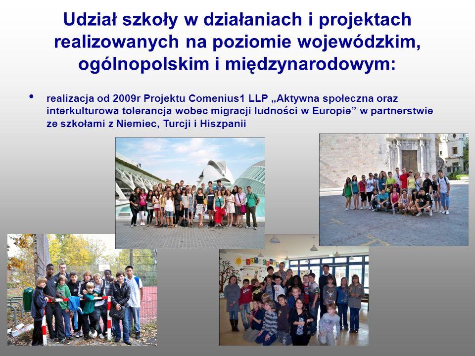 Udział szkoły w działaniach i projektach realizowanych na poziomie wojewódzkim, ogólnopolskim i międzynarodowym: