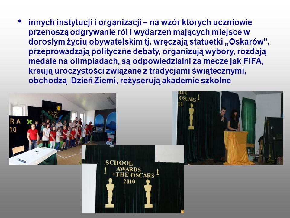 innych instytucji i organizacji – na wzór których uczniowie przenoszą odgrywanie ról i wydarzeń mających miejsce w dorosłym życiu obywatelskim tj.