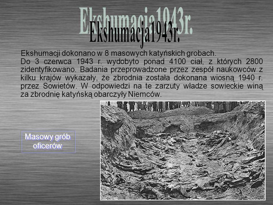 Ekshumacja1943r. Ekshumacji dokonano w 8 masowych katyńskich grobach.