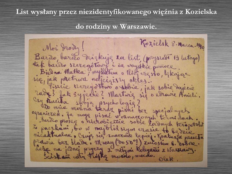 List wysłany przez niezidentyfikowanego więźnia z Kozielska do rodziny w Warszawie.