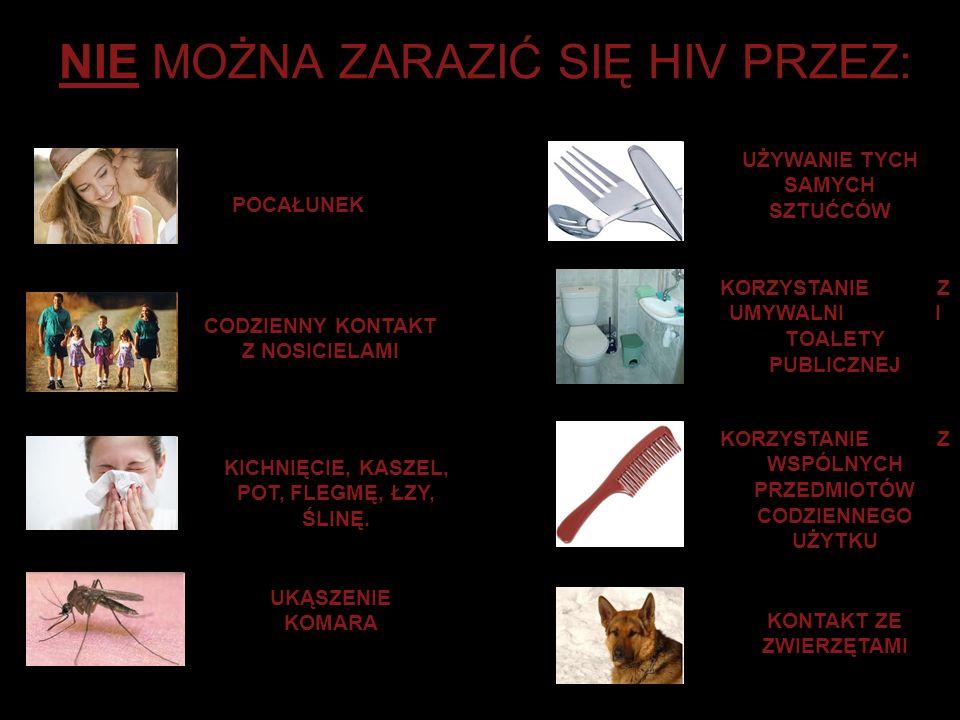 NIE MOŻNA ZARAZIĆ SIĘ HIV PRZEZ:
