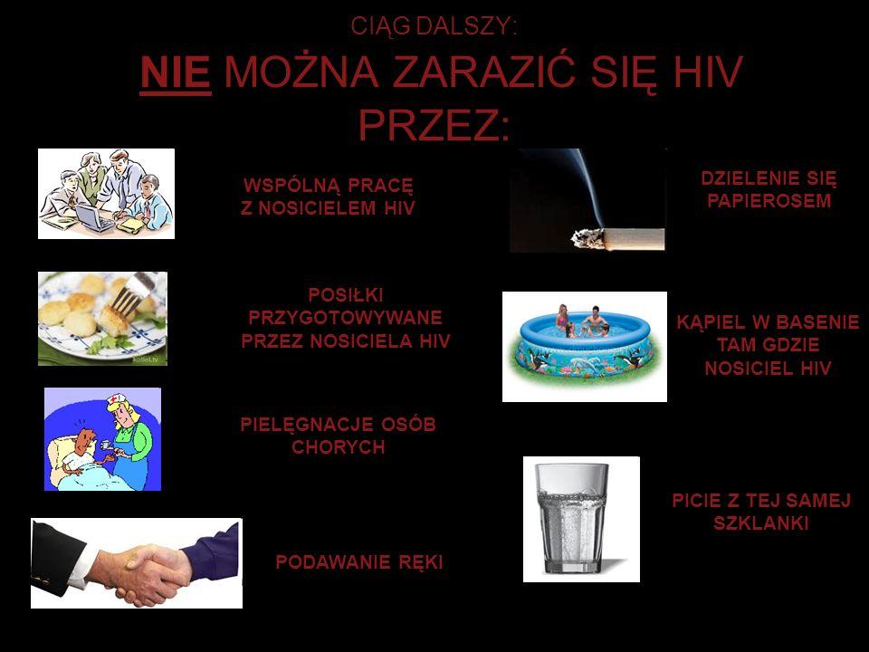 CIĄG DALSZY: NIE MOŻNA ZARAZIĆ SIĘ HIV PRZEZ: