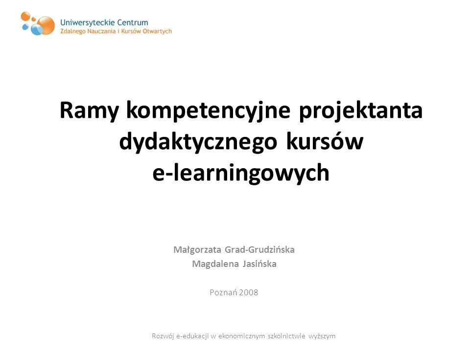 Ramy kompetencyjne projektanta dydaktycznego kursów e-learningowych