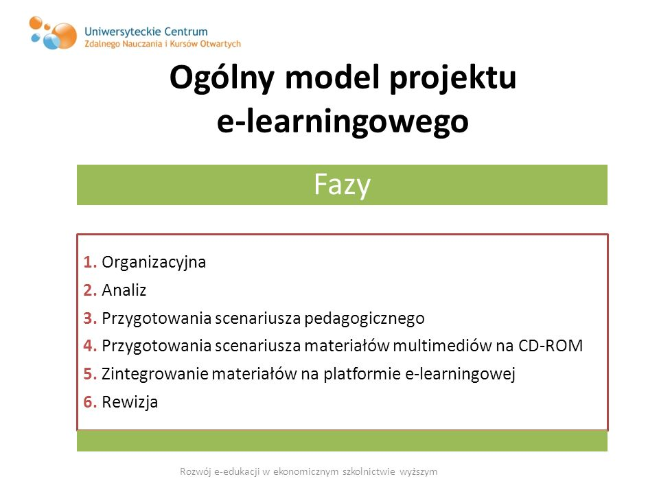 Ogólny model projektu e-learningowego
