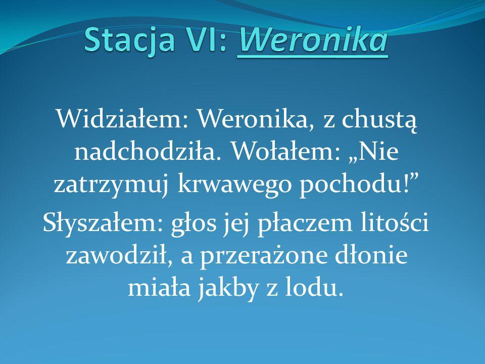 """Stacja VI: Weronika Widziałem: Weronika, z chustą nadchodziła. Wołałem: """"Nie zatrzymuj krwawego pochodu!"""