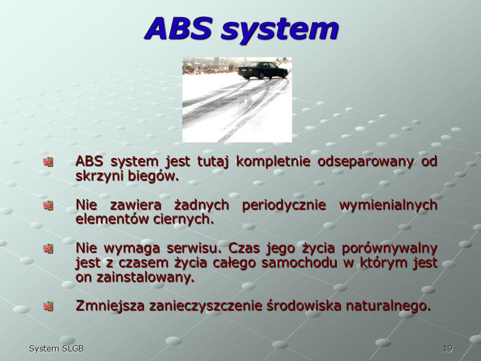 22/03/2017 ABS system. ABS system jest tutaj kompletnie odseparowany od skrzyni biegów.