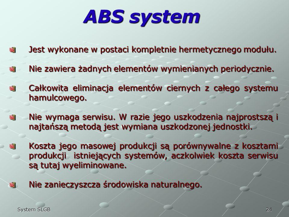 ABS system Jest wykonane w postaci kompletnie hermetycznego modułu.