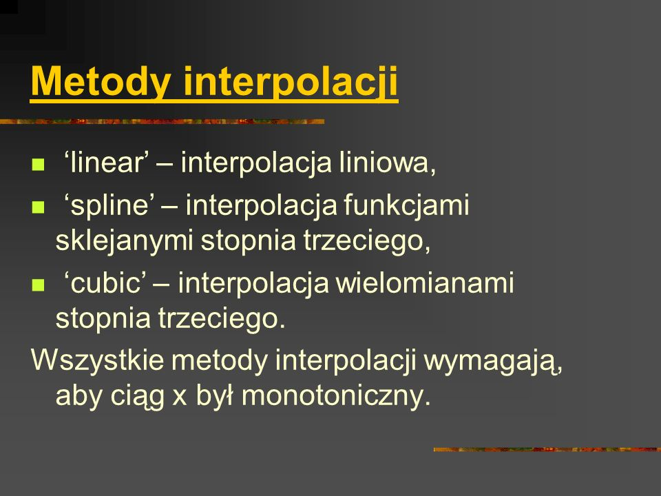 Metody interpolacji 'linear' – interpolacja liniowa,