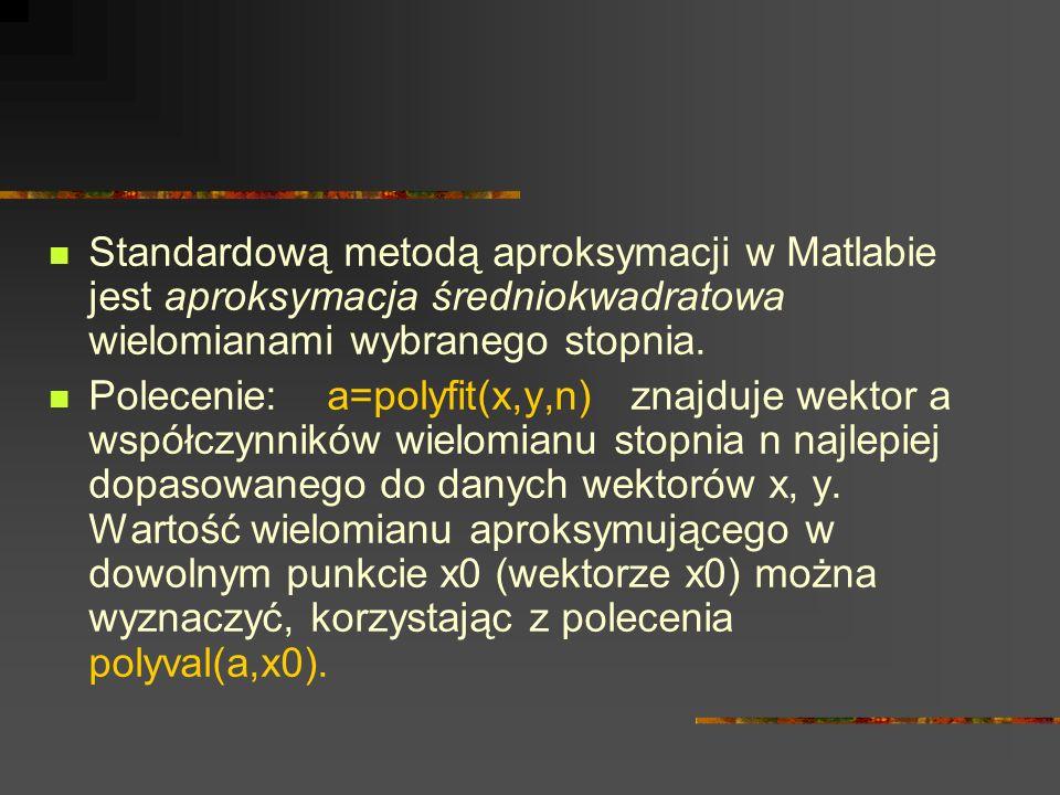 Standardową metodą aproksymacji w Matlabie jest aproksymacja średniokwadratowa wielomianami wybranego stopnia.