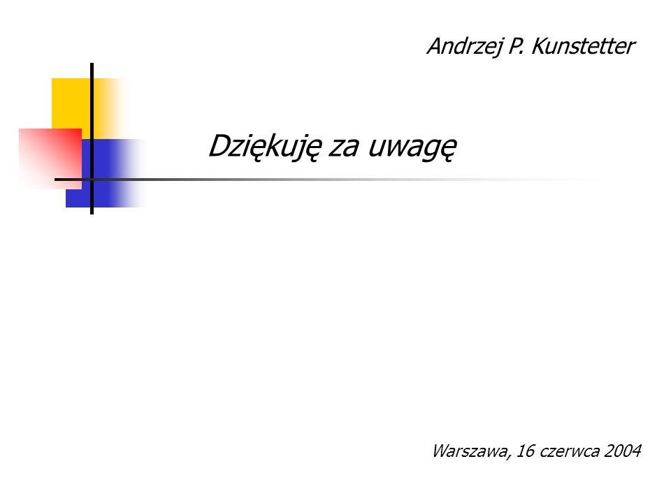 Andrzej P. Kunstetter Dziękuję za uwagę Warszawa, 16 czerwca 2004