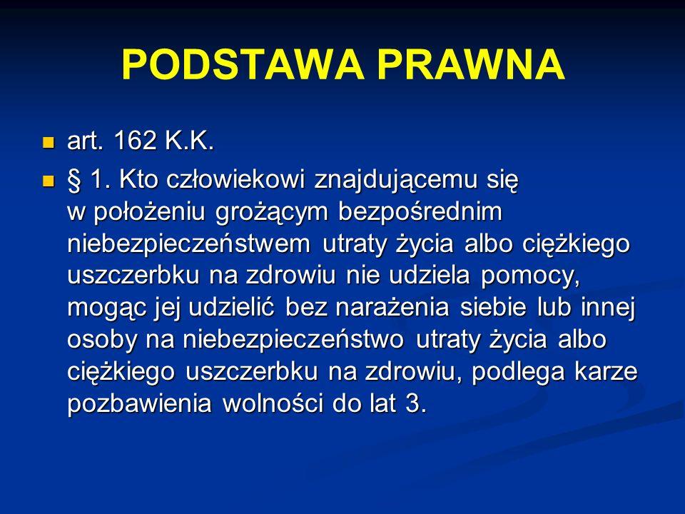 PODSTAWA PRAWNA art. 162 K.K.