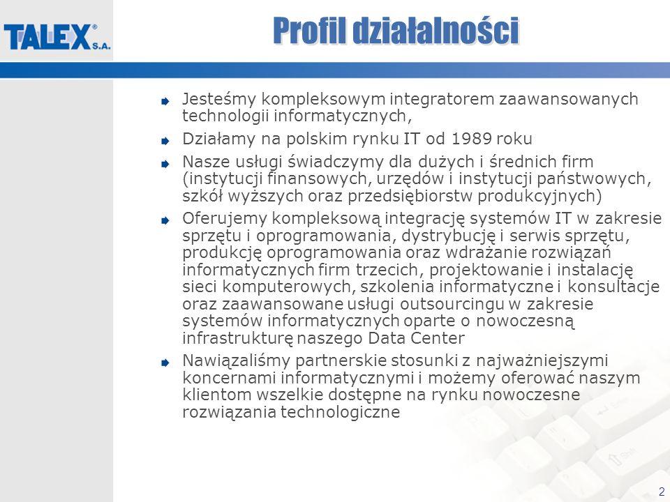 Profil działalnościJesteśmy kompleksowym integratorem zaawansowanych technologii informatycznych, Działamy na polskim rynku IT od 1989 roku.