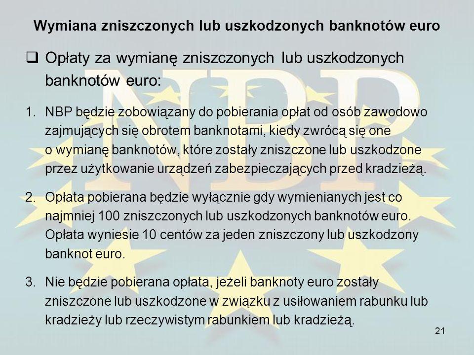 Wymiana zniszczonych lub uszkodzonych banknotów euro