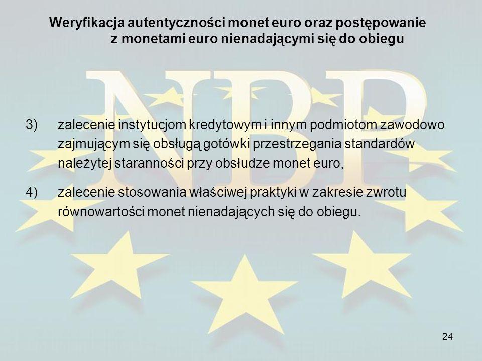 Weryfikacja autentyczności monet euro oraz postępowanie z monetami euro nienadającymi się do obiegu