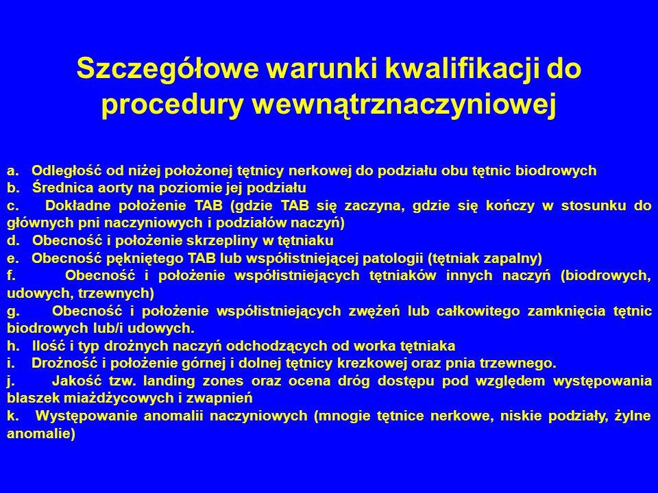 Szczegółowe warunki kwalifikacji do procedury wewnątrznaczyniowej