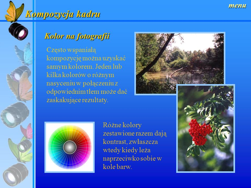 Kompozycja kadru Kolor na fotografii menu