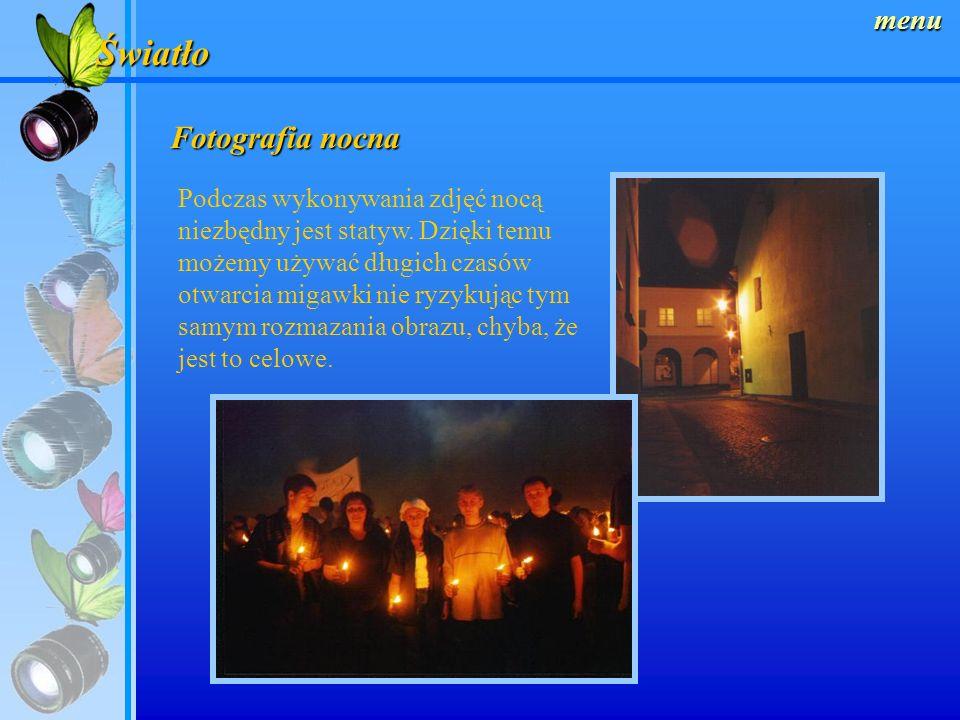 Światło Fotografia nocna menu