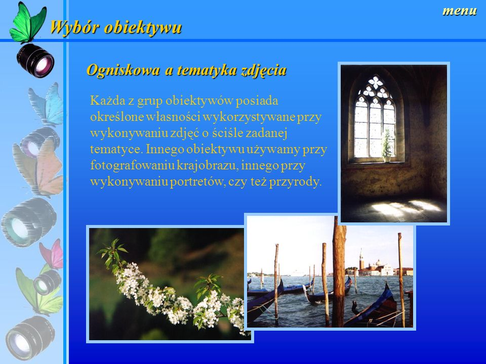 Wybór obiektywu Ogniskowa a tematyka zdjęcia menu