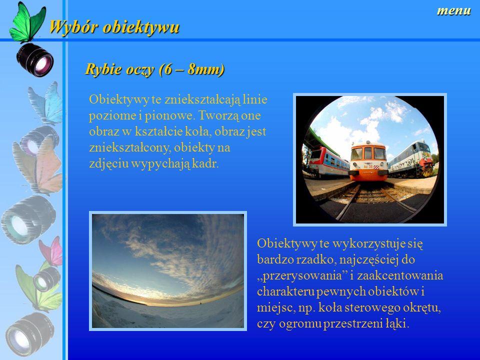 Wybór obiektywu Rybie oczy (6 – 8mm) menu