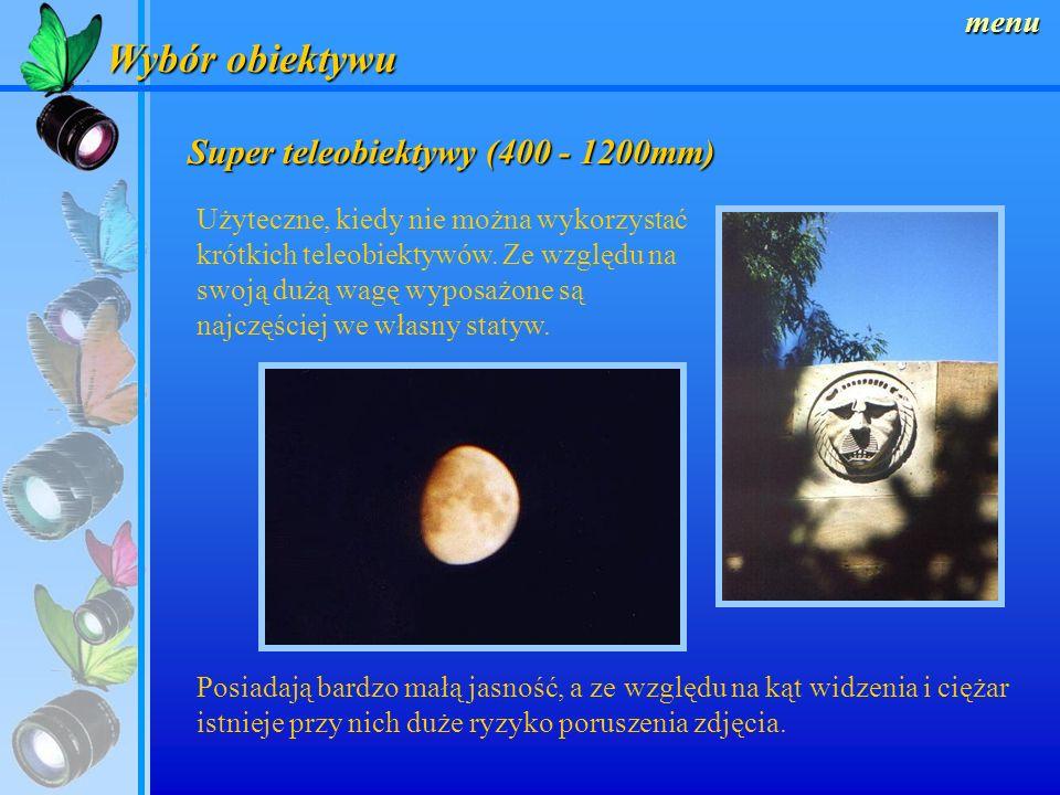 Wybór obiektywu Super teleobiektywy (400 - 1200mm) menu