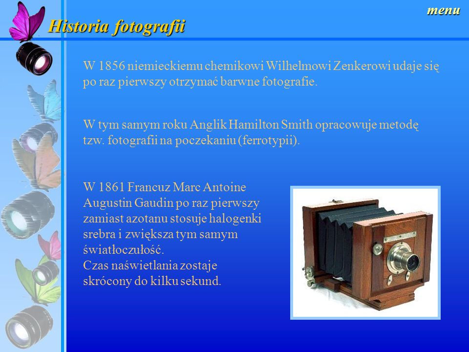 Historia fotografii menu