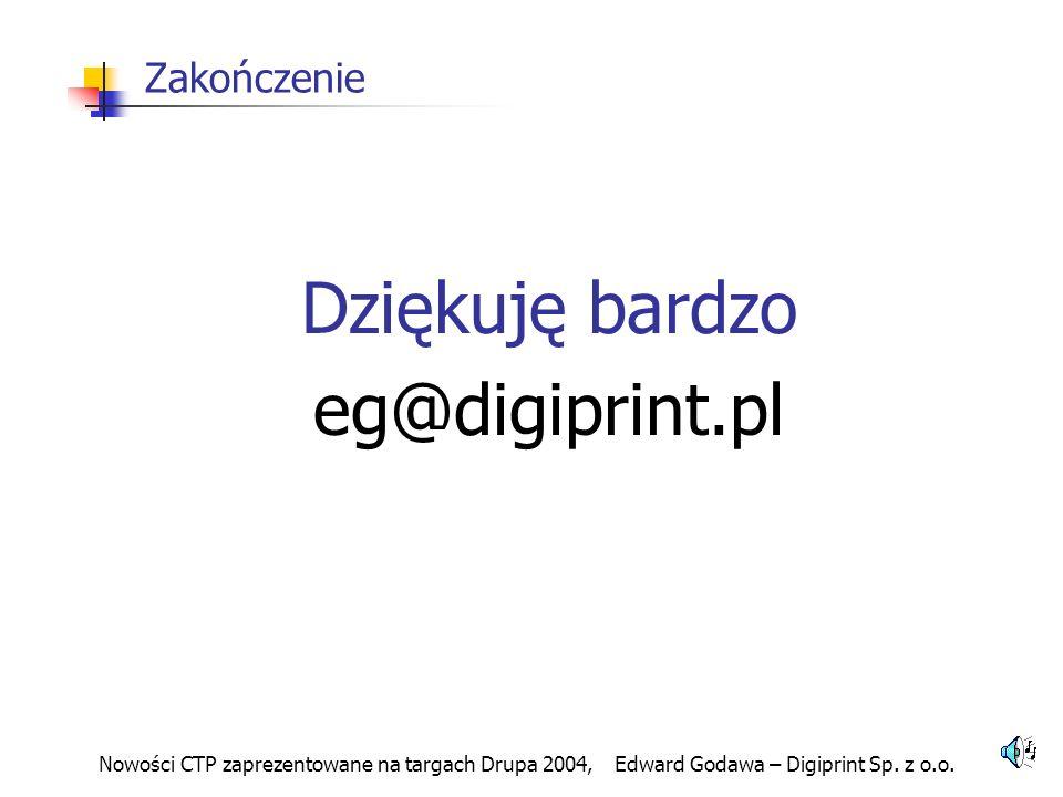 Dziękuję bardzo eg@digiprint.pl Zakończenie