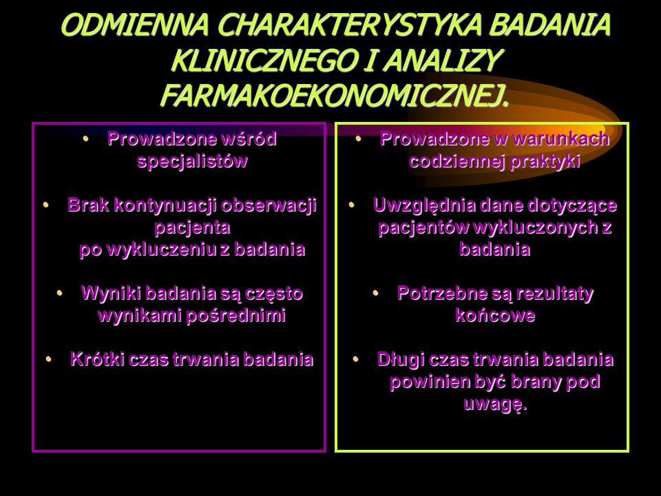 ODMIENNA CHARAKTERYSTYKA BADANIA KLINICZNEGO I ANALIZY FARMAKOEKONOMICZNEJ.