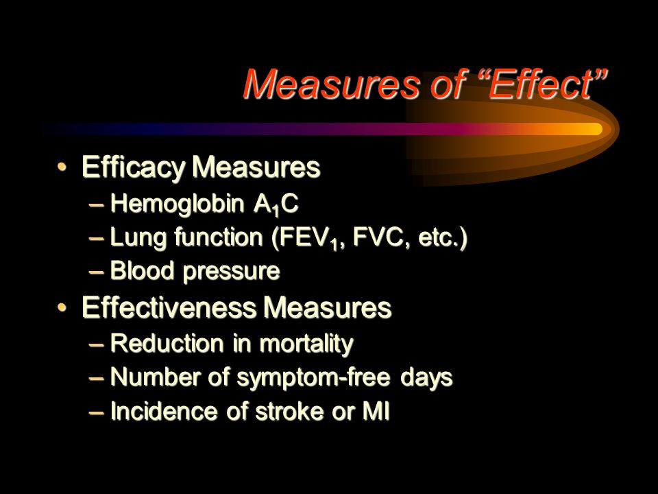 Measures of Effect Efficacy Measures Effectiveness Measures