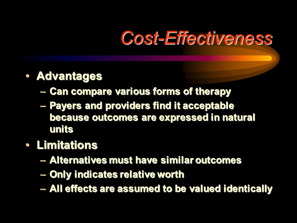 Cost-Effectiveness Advantages Limitations