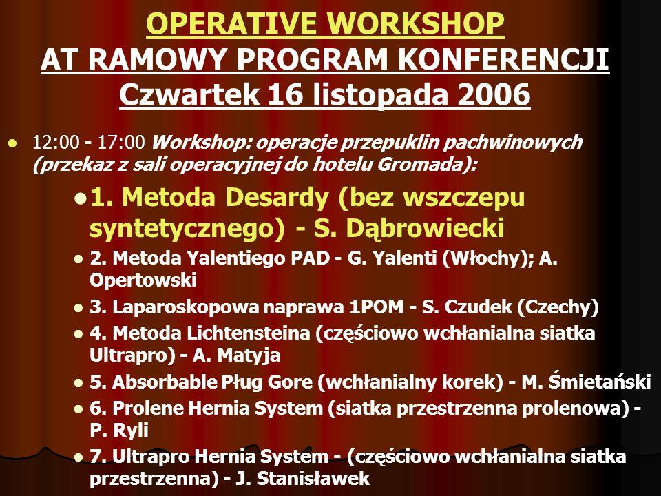 OPERATIVE WORKSHOP AT RAMOWY PROGRAM KONFERENCJI Czwartek 16 listopada 2006