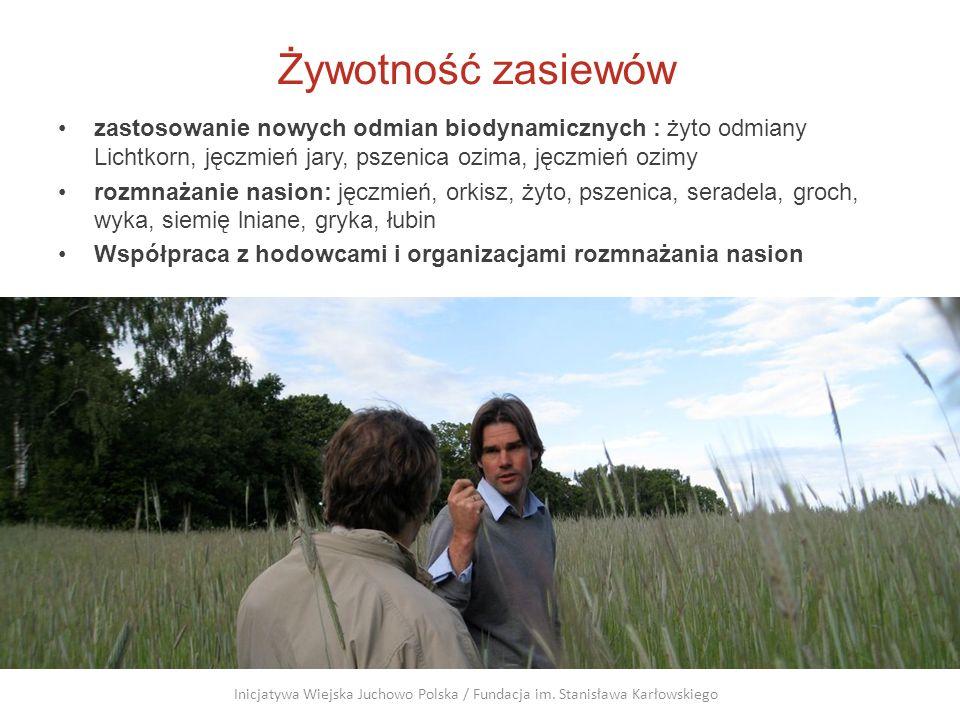 Żywotność zasiewów zastosowanie nowych odmian biodynamicznych : żyto odmiany Lichtkorn, jęczmień jary, pszenica ozima, jęczmień ozimy.