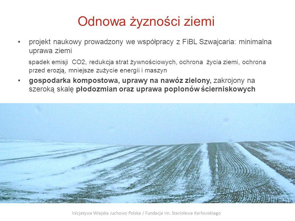 Odnowa żyzności ziemi projekt naukowy prowadzony we współpracy z FiBL Szwajcaria: minimalna uprawa ziemi.