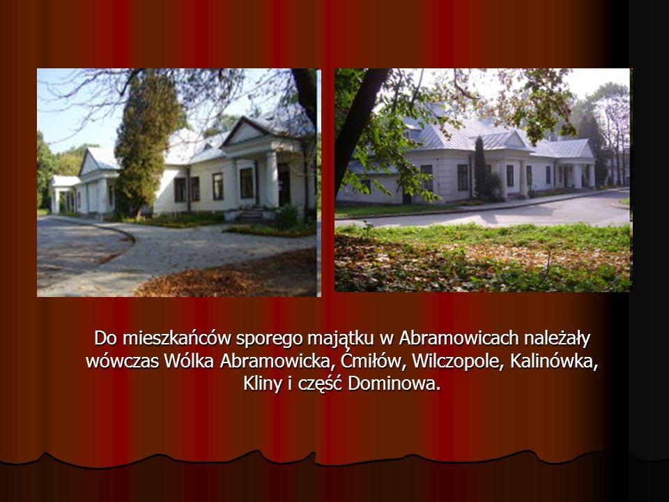 Do mieszkańców sporego majątku w Abramowicach należały wówczas Wólka Abramowicka, Ćmiłów, Wilczopole, Kalinówka, Kliny i część Dominowa.