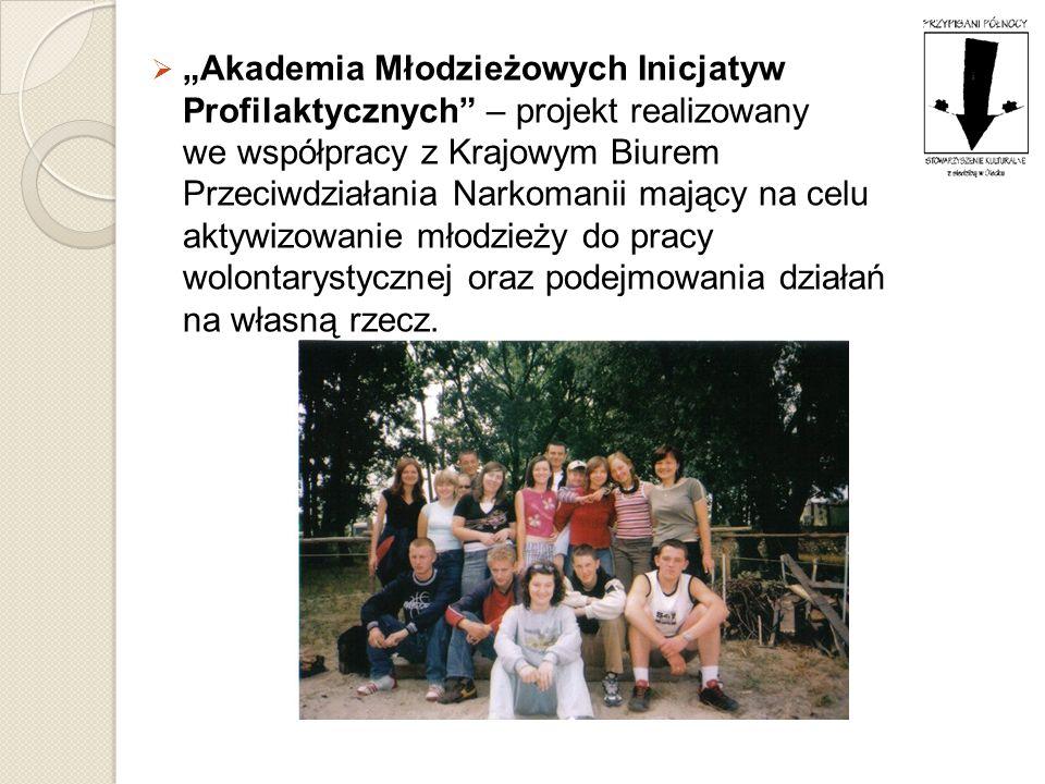 """""""Akademia Młodzieżowych Inicjatyw Profilaktycznych – projekt realizowany we współpracy z Krajowym Biurem Przeciwdziałania Narkomanii mający na celu aktywizowanie młodzieży do pracy wolontarystycznej oraz podejmowania działań na własną rzecz."""