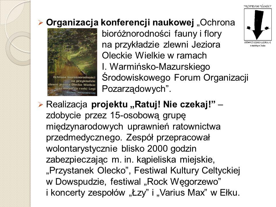 """Organizacja konferencji naukowej """"Ochrona bioróżnorodności fauny i flory na przykładzie zlewni Jeziora Oleckie Wielkie w ramach I. Warmińsko-Mazurskiego Środowiskowego Forum Organizacji Pozarządowych ."""