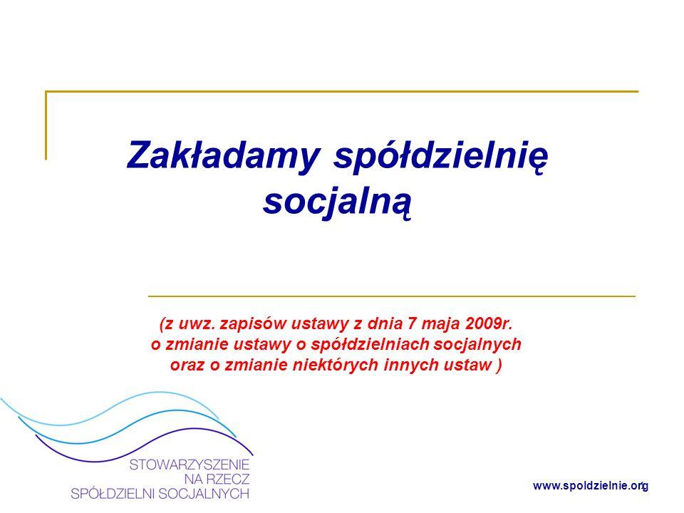Zakładamy spółdzielnię socjalną (z uwz