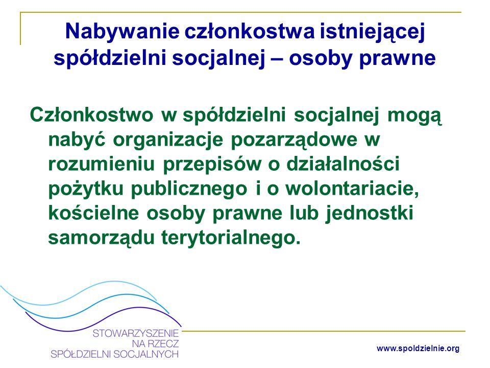 Nabywanie członkostwa istniejącej spółdzielni socjalnej – osoby prawne
