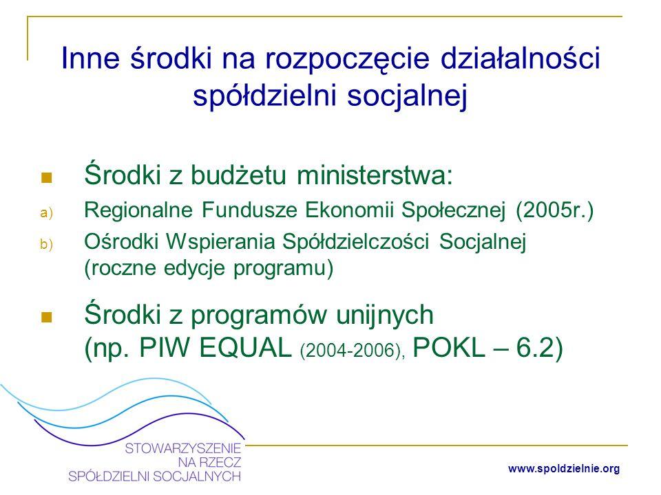 Inne środki na rozpoczęcie działalności spółdzielni socjalnej